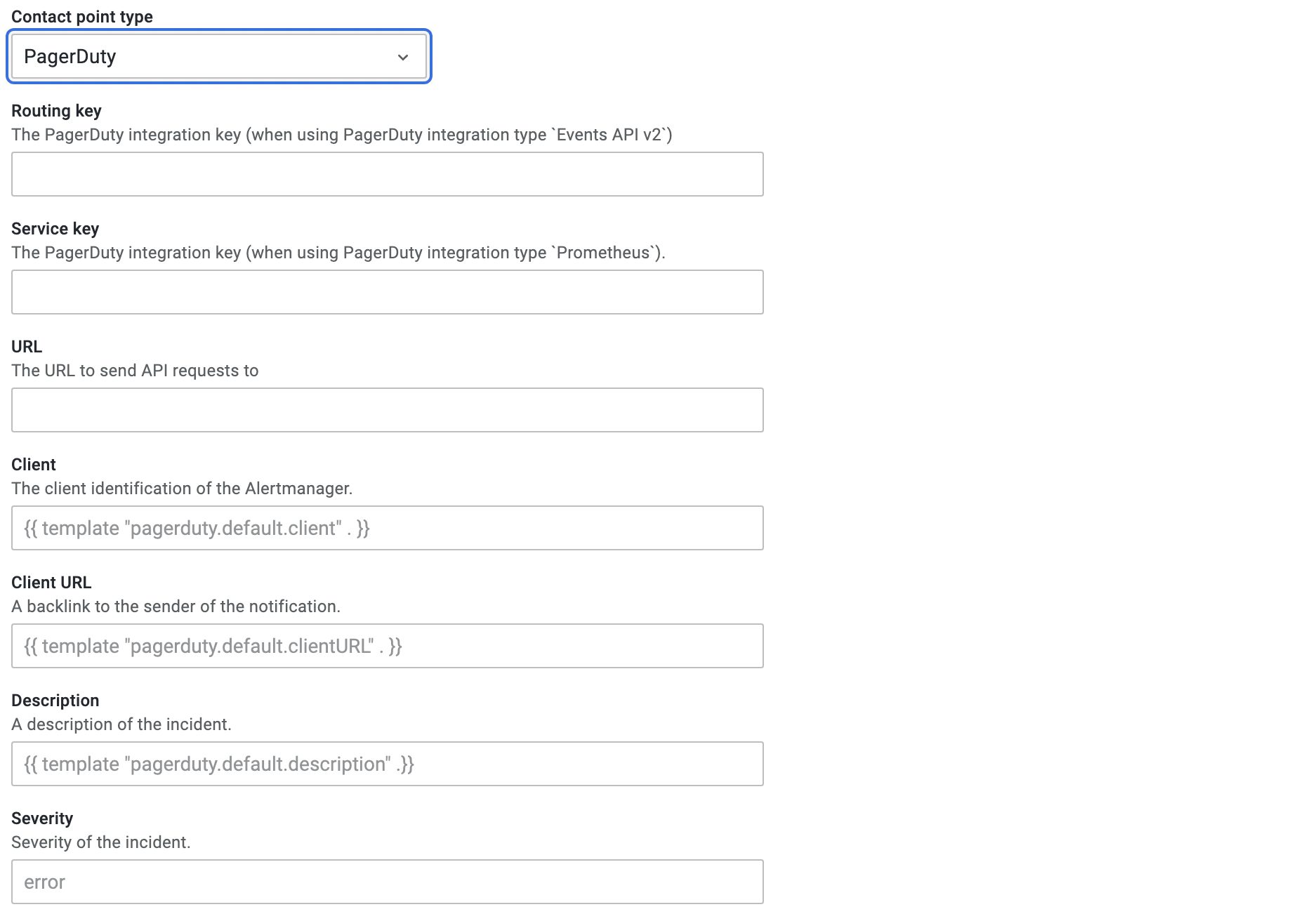 pagerduty config options